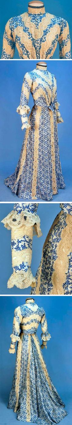 Silk gown, ca. 1902. Two-piece in blue and white print, with tucked silk panels with bands of scrolling floral cream lace and boned long-sleeved bodice with ruffle at elbow. Slightly trained skirt. Lined in cream silk with hem ruffle. Whitaker Auctions
