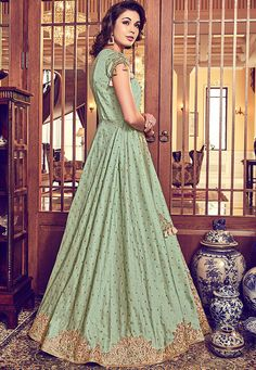 Green-Peach Sequins Beads Worked Jacket Style Suit - Fashionandstylish - The Fashion Studio Anarkali Tops, Anarkali Suits, Crystal Gown, Types Of Skirts, Bridesmaid Outfit, Embroidered Jacket, White Embroidery, Green Silk, Jacket Style
