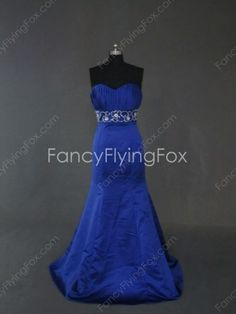 Elegant Royal Blue Satin Sweetheart Neckline Full Length Trumpet/Mermaid Prom Dresses With Embroidery  $189.00