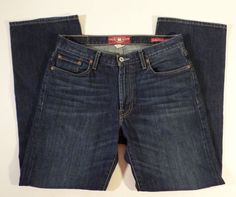 Mens Size 31x32 Lucky Brand 181 Relaxed Straight Jeans Dark Wash