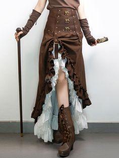 Costume d'Halloween Steampunk jupes Vintage Brown Suede Ruffle jupe longue haute basse femmes Steampunk Rock, Costume Steampunk, Steampunk Skirt, Steampunk Couture, Steampunk Wedding, Victorian Steampunk, Steampunk Makeup, Steampunk Drawing, Steampunk Bedroom