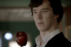 """Since I don't have tumblr, I'm going to put this on here. The apple makes me wonder if it had more significance because Moriarty had previously said """"All fairytales need a good old fashioned villain."""" Made me think of the poisonous apple.."""