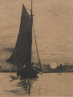 California art ship and boats in the sea etching print by listed artist Ernest Watson Burdge (1851- 1917)