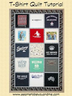 T-Shirt Quilt Tutorial for beginners   Seams to be you and me.....Sweet!