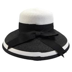 Tiffany Style Summer Hat by Karen Keith - Black and White — SetarTrading Hats Black And White Hats, Summer Hats, Disney Cruise, Disney Style, Grosgrain Ribbon, Ultra Violet, Style Summer, Cute Outfits, Tiffany White