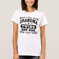 Grandma Twins Est. 2018 T-Shirt - baby gifts child new born gift idea diy cyo special unique design