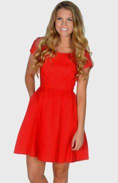 Lauren James The Sheridan Dress Medium Red Keyhole Back Cutout Bow Pockets #LaurenJames #Sheath #Casual