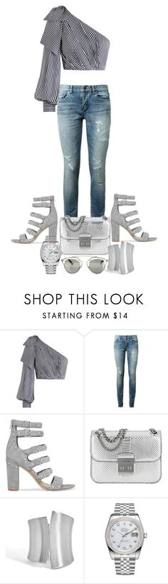 """""""silver"""" by pari2naz2 ❤ liked on Polyvore featuring Zimmermann, Yves Saint Laurent, Sam Edelman, Michael Kors, Rolex and Christian Dior"""