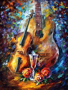 "GUITAR AND VIOLIN — PALETTE KNIFE Oil Painting On Canvas By Leonid Afremov - Size 30""x40"""
