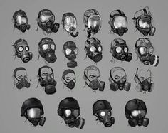 View an image titled 'Mask Designs Art' in our Resident Evil: Operation Raccoon City art gallery featuring official character designs, concept art, and promo pictures. Gas Mask Drawing, Gas Mask Art, Masks Art, Gas Masks, Character Concept, Character Art, Concept Art, Mask Design, Design Art
