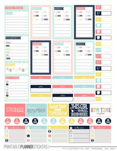 Pretty Pastel Fitness Printable Happy Planner Stickers - FREE