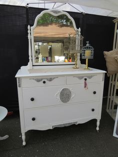 Black and White Antique Dresser. See more at facebook.com/lunarosedesigns.