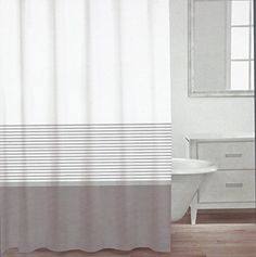 Caro Home Cotton Shower Curtain Wide Stripe Navy Blue Silver White Nautical New Carohome