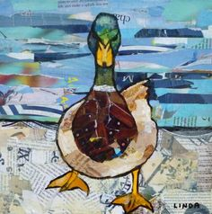 "Just Ducky by Linda Bell, Acrylic/Torn Paper Collage, 10"" x 10"" 