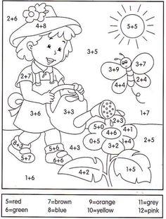 math coloring worksheet addition for easter Math Coloring Worksheets, Preschool Learning, Kindergarten Worksheets, Teaching Math, Preschool Activities, Math Addition, 1st Grade Math, Homeschool Math, Math For Kids