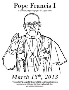 Pope Francis I Free Catholic Coloring Page