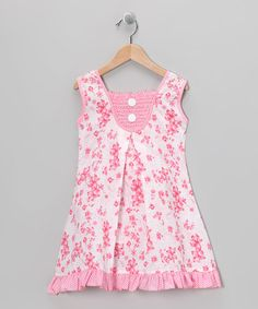 Take a look at this Pink Smocked Floral Dress - Toddler & Girls by Sam de Fleur on #zulily today!