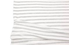 Gray and Off White Stripe Baby French Terry Knit Fabric 29
