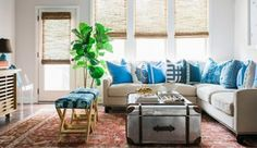 """OKL - The """"X Bench"""" Style It Challenge Mandy Kellogg Rye's living room featuring Lacefield Cobalt and Royal pillows & Taylor Burke X Benches Black Rooms, White Rooms, Patina Farm, Greige, X Bench, Benches, Love Home, White Paints, Open Shelving"""