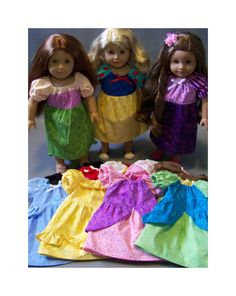 "American Girl 18"" Doll PRINCESS DRESSES from peasant dress pattern and make your girl matching dresses too! One dress pattern to make all the princesses!"