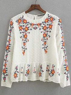 Shop Drop Waist Embroidery Keyhole Back Blouse online. SheIn offers Drop Waist Embroidery Keyhole Back Blouse & more to fit your fashionable needs.