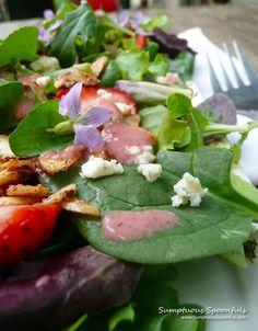 Strawberry Almond Wild Violet Salad ~ Sumptuous Spoonfuls #salad #recipe