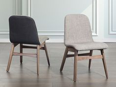Dining chair- light grey - upholstered- fabric - MADOX