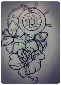 Nautical Wheel And Flowers Tattoos Sketch