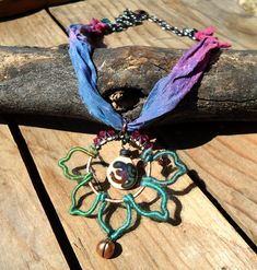 "Harmony Rising Lotus ""Galaxy"" wire-wrapped lotus and crystal necklace Bead Shop, Head Pins, Third Eye, Lampwork Beads, Artisan Jewelry, Crystal Necklace, Wire Wrapping, Turquoise Necklace, Gypsy"