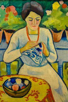 art present in my life August Macke - Woman Embroidering on Balcony, 1910 at Kunstmuseum Bonn Germany August Macke, Franz Marc, Wassily Kandinsky, Henri Matisse, Cavalier Bleu, Maurice De Vlaminck, Bonn Germany, Blue Rider, Expressionist Artists