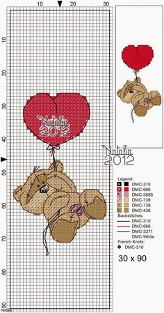 Fizzy Moon Bear - Free Patterns - Valentines Day  Here are graphs and patterns that hopefully will be easy to follow.  And you can customize...