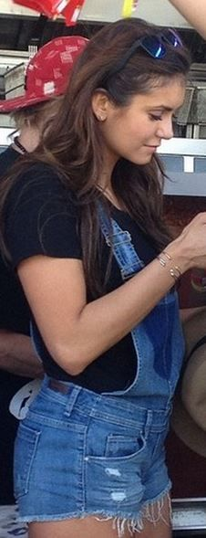 Nina Dobrev wearing Blank NYC Shortalls in Bunch of Fives.
