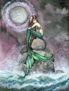 The Fantasy and Fairy Art of Molly Harrison: Mermaid Art Prints Mermaid Poster, Mermaid Artwork, Mermaid Drawings, Mermaid Paintings, Fantasy Mermaids, Real Mermaids, Mermaids And Mermen, Mermaid Fairy, Mermaid Tale