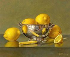 Roy Hodrien Lemons in a Silver Bowl 2011 - still life quick heart