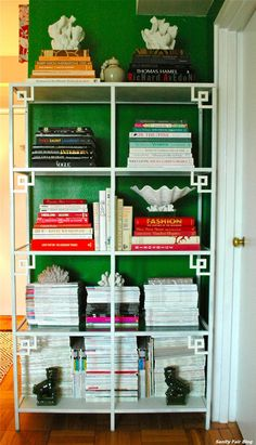 SANITY FAIR: DIY CHINOISERIE ETAGERE - amazing these are IKEA shelves with overlays