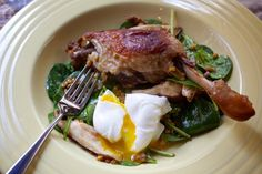 Spinach, Farro and Duck Confit Salad With Poached Egg