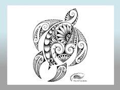 Modern Polynesian Style Honu Tattoo Design