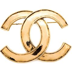 Chanel Vintage logo brooch ($775) ❤ liked on Polyvore featuring jewelry, brooches, metallic, 18 karat gold jewelry, logo jewelry, 18k jewelry, chanel and pin brooch