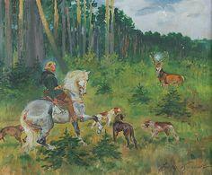 Jerzy KOSSAK (1886-1955)  Święty Hubert, 1941 olej, tektura; 36,5 x 44 cm; sygn. p. d.: Jerzy Kossak / 1941