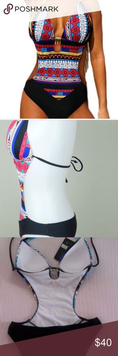 Bohemian Style Print Monokini Swimsuit Multi-print in red, black, blue, yellow, white colors. Gold tone jeweled hardware at top of straps and bust, padded bra. Small bust 32-34, cup A-B, hips 32-34; Med. 34-36, Cup B-C; hips 34-36; Large approx. 36-38, cup B-C, hips 36-38. New w/o tags, unbranded. Swim One Pieces