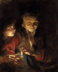 """""""Old Woman and a Boy with Candles,"""" by  Pieter Paul Rubens (Flemish,1577-1640)"""