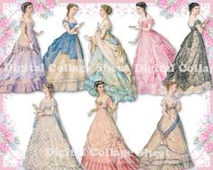 Beautiful gowns 04 vintage ladies ATC ACEO by SistersScrapbooking