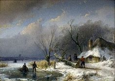 Winter Landscape by Andreas Schelfhout.