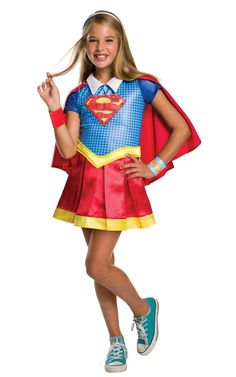 She can dress up as her favorite superhero with a Supergirl Costume for girls! This DC Super Hero Girls Supergirl Costume includes a shirt, a cape, a skirt, a headband, and more. Supergirl Halloween Costume, Cute Halloween Costumes, Superman Costumes, Halloween Ideas, Toddler Halloween, Halloween Recipe, Women Halloween, Halloween Projects, Halloween Nails