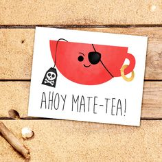 Ahoy Mate-tea Digital 8x10 Printable Poster Funny by ALittleLeafy