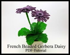 French Beaded Gerbera Daisy - Full Project Tutorial by Lauren's Creations #beading #diyproject #beadingtutorial #beadingpattern #beadedflowers