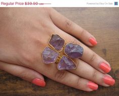 VALENTINE DAY SALE 20% Amethyst Rings/Gemstone by FootSoles