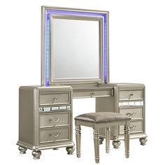 Shop for Kaleidoscope Platinum Finish Center Drawer Mirror and Vanity Desk. Get free delivery On EVERYTHING* Overstock - Your Online Furniture Store! Home Furniture Online, Furniture Deals, Furniture Makeover, Mirror Furniture, Furniture Update, Furniture Projects, Vanity Desk, Vanity Set With Mirror, Grey Desk