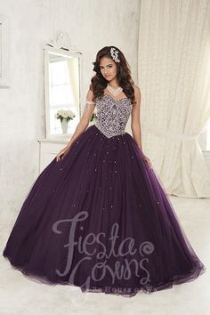 Iridescent rhinestones bring out the glamour in this ball gown with a basque wait and sweetheart neckline. Download the Fiesta Gowns by House of Wu sizing chart here. *Note lead times for dresses will