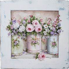 Enamel Containers and Flowers by Gail McCormack (Oils on a board 20 x 20in Sold $175 Australian).